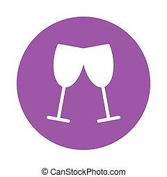 glyps, couleur, vin, cercle, lunettes, icône