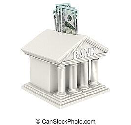 gmach, bank, dolar, odizolowany, na