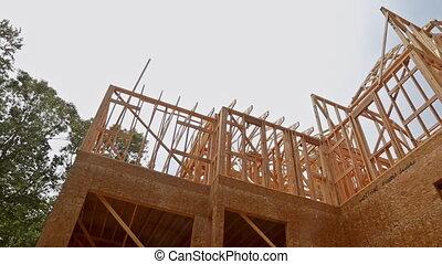 gmach, dom, do góry, ułożony, zbudowanie, nowy, gruntowy