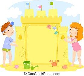 gmach, dzieciaki, przestrzeń, piasek zamek, kopia