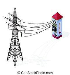 gmach, informacja, transformator, elektryczność, elektryczność, graphic., isometric, stacja, wysoki-woltaż, pylon.