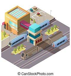 gmach, isometric, wektor, nowoczesny, pociąg stacja