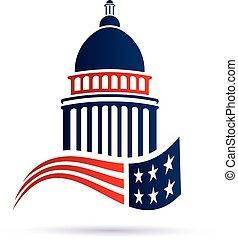 gmach, kapitol, flag., amerykanka, wektor, projektować, logo