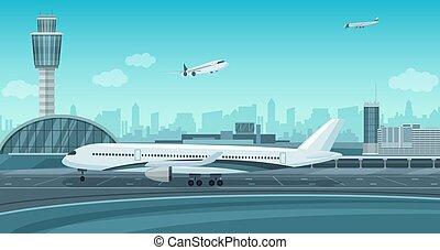 gmach, krajobraz., kolor, mono, wpływy, aeroport końcowy, samolot, wektor, monochromia, od.