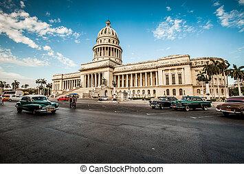 gmach, kuba, 2011., havana, kuba, -, czerwiec, kapitał, 7, 7th.