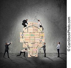 gmach, lightbulb, budowany, handlowy, ściana, cielna, razem, twórczy, idea., osoba, nowy, pociągnięty, cegła