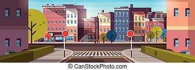 gmach, miasto, śródmieście, płaski, opróżniać, rano, wcześnie, domy, ulica, architektura, cityscape, droga, wschód słońca, chorągiew, poziomy, miejski