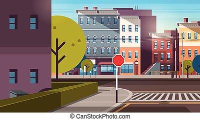 gmach, miasto, śródmieście, płaski, opróżniać, rano, wcześnie, domy, ulica, architektura, cityscape, droga, wschód słońca, poziomy, miejski