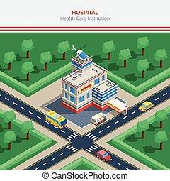gmach, miasto, isometric, szpital, konstruktor