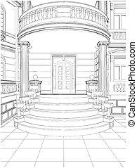 gmach, mieszkaniowy, wejście, dom