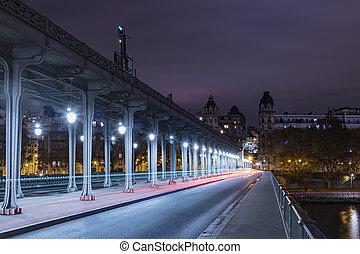 gmach, most, kamień, rzeka, bir-hakeim, pociąg, na, sieć, dwa, paryż, wyścigi, między, m?tro, metro, francja
