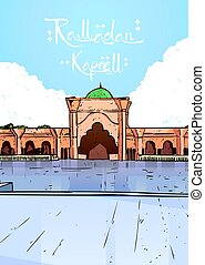 gmach, nabawi, święty, muslim meczet, ramadan, miesiąc, ...