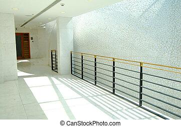gmach, nowoczesny, korytarz, biuro