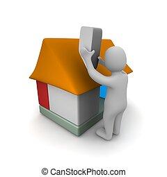 gmach, odpłacił, illustration., house., człowiek, 3d
