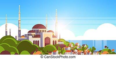 gmach, piękny, nabawi, pojęcie, płaski, muslim meczet, zakon...