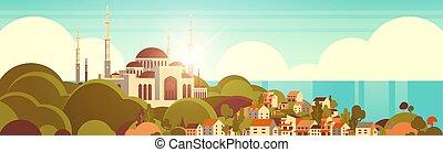 gmach, piękny, nabawi, pojęcie, płaski, muslim meczet,...