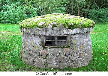 gmach, rolniczy, moss-grown, dach, kamień