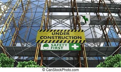 gmach, rusztowanie, signboard., pod zbudowanie