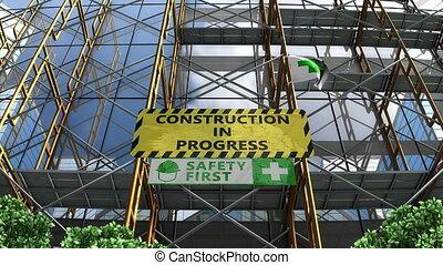 gmach, rusztowanie, signboard., postęp, zbudowanie