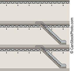 gmach, section., eskalator, floors., trzy