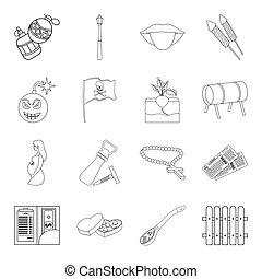 gmach, sieć, style.medicine, komplet, szkic, ikony, collection., gra, kraj, inny, utrzymanie, wole, ikona