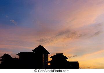 gmach, sylwetka, biuro, sky., zmierzch, dach