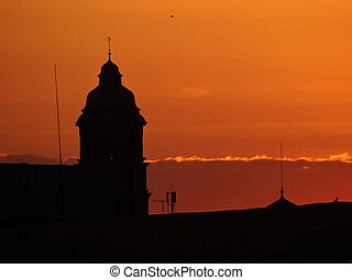 gmach, sylwetka, niebo, jasny, zachód słońca, tło, pomarańcza