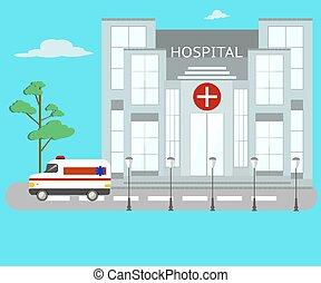 gmach, szpital, odizolowany, wektor, wóz., objects.