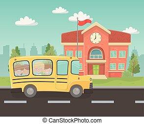gmach, sztubacy, autobus, scena, krajobraz