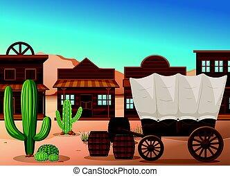 gmach, wóz, pustynia, drewniany