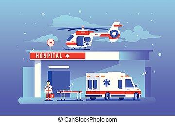 gmach, wóz, szpital, helikopter, ambulans