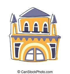 gmach, wieże, teatr, sprytny, konturowany, żółty, element, opowiadanie, miasto, ilustracja, szykowny, wróżka, rysunek, krajobraz
