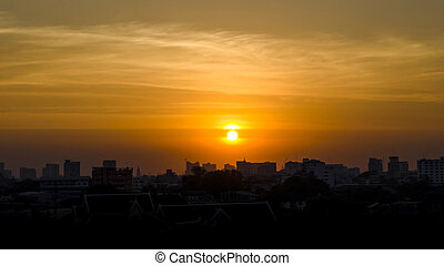 gmach, zachód słońca, sylwetka, miasto