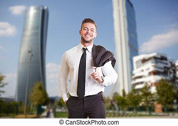 gmach, zewnątrz, businesspeople, biuro