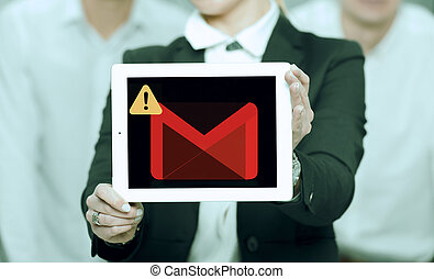 gmail outage show woman , mail issue concept
