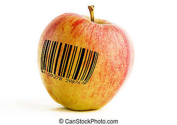 GMO Apple - A single apple with a bar code, genetically...