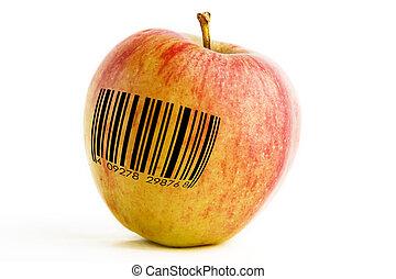 GMO Apple - A single apple with a bar code, genetically...