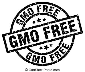 gmo free round grunge black stamp