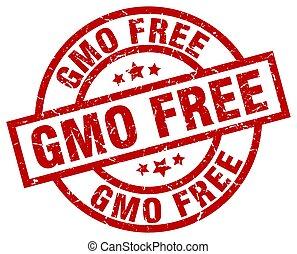 gmo free round red grunge stamp