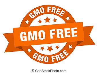 gmo free round ribbon isolated label. gmo free sign