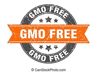 gmo free round stamp with ribbon. label sign