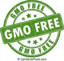 Gmo free rubber stamp on white background