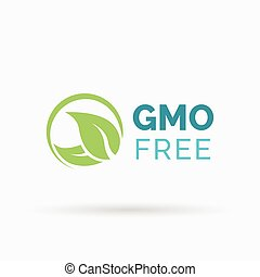 GMO free symbol design with green leaves icon