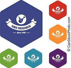 gmo, icônes, hexahedron, recherche, vecteur, poulet
