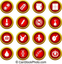 GMO icon red circle set