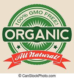 gmo, isolato, libero, etichetta, vettore, organico