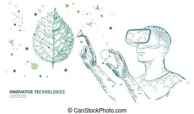 gmo, moderno, medico, technology., glasses., gene, concept., vr, ingegneria, ecologia, vettore, innovazione, augmented, illustrazione, natura, evoluzione, scienza, pianta, dna, casco, organico, realtà