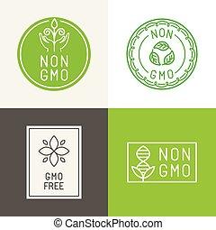 gmo, non, naturale, emblemi, ingridients, etichette