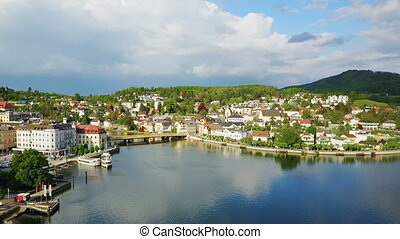 Gmunden aerial view, Austria - Gmunden city lakeside and...