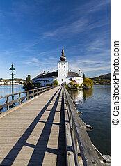 Gmunden castle on lake, Austria